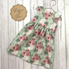Floral Tea Party Dress, Size 1 2 3 or 4, Girls Dresses