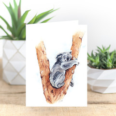 Australian Koala, Watercolour and Ink Art Greeting Cards, Blank Inside, A6 size