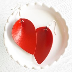 Pinched Petal, Genuine Leather Earrings, Valentine Red