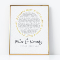 Personalised artwork - Choose your song - unique anniversary/wedding gift
