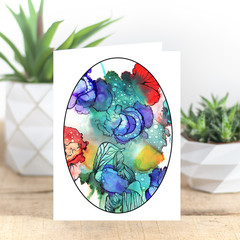 Abstract Blue Blooms Alcohol Ink Art Greeting Card, Blank Inside, A6 size