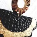 Studded Scalloped Fan, Genuine Leather Earrings, Black/Gold