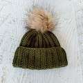 Newborn Olive Green Ribbed Crocheted Baby Beanie with Faux Fur Pompom