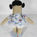 Inez Cloth Doll - Mini Heirloom Style Fabric Doll in Blue Daisy Floral Print