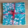 Sea Green Flower Batik Fabric Coaster (Set of 4)