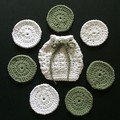 One Small Soap Saver and Seven Scrubbies in White and Sage Green