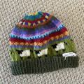 Green Sheep  Beanie - to fit approx size 1-3 years -hand knitted