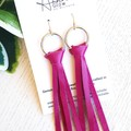 Knotted Tassel, Genuine Leather Earrings, Fuschia Pink
