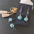 Flower in a Glass (Aqua) - Cute dangle earrings