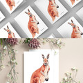 Australian Red Kangaroo Watercolour Ink Greeting Cards, Blank Inside, A6 size