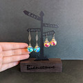 Flower in a Glass - Aqua dangle earrings (surgical stainless hooks)