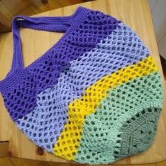 Crochet Mesh Market Bag - Purple Waterlily