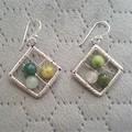 Natural gemstone rhombus dangle 925 sterling silver hook earrings