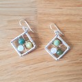 Natural gemstone rhombus dangle 925 sterling silver hook earrings