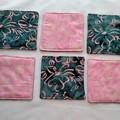 Pink Flower Batik Fabric Coasters (Set of 6)