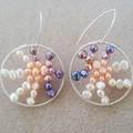 Statement freshwater pearl circle 925 sterling silver hook dangle earrings