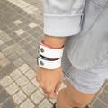 White Leather Bracelet with Blue Edges