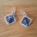 Blue lapis lazuli rhombus dangle 925 sterling silver hook earrings