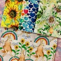 Sunflowers, cockies & kangaroos 4 pack kitchen cloths / unpaper towels