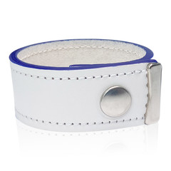 White Leather Bracelet with Blue Edges