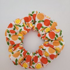 Orange and yellow / citrus print scrunchie / hair accessory