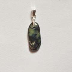 Unique handmade vivianite on sterling silver pendant 2cm x 0.7cm x 0.2cm