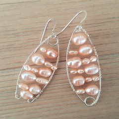Mismatched statement freshwater pearl dangle earrings, 925 sterling silver