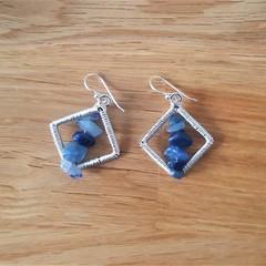 Blue aventurine rhombus dangle 925 sterling silver hook earrings