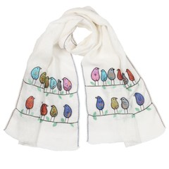 Women's Hand Stitched and Embroidered Linen Fashion Scarf by Sen Saish