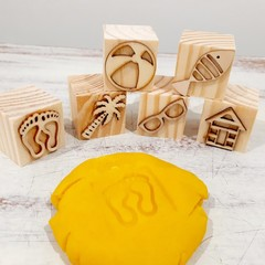 Wooden Dough Imprint Blocks - BEACH DAYS Set