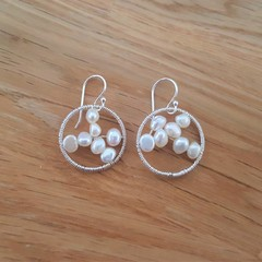Delicate freshwater white pearl circle 925 sterling silver hook dangle earrings