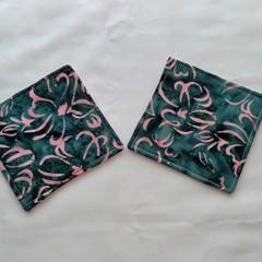 Pink Flower Batik Fabric Coaster (Set of 2)