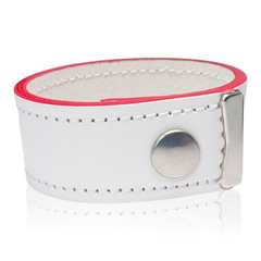 White Leather Bracelet with Red Edges