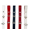 White Leather Belt with Blue Edges