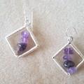 Lavender amethyst rhombus dangle 925 sterling silver hook earrings