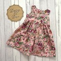 Floral Tea Party Dress, Size 1 2 3 4 5 or 6, Girls Dresses