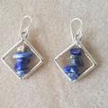 Blue lapis lazuli rhombus dangle 925 sterling silver hook earrings