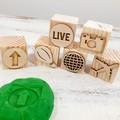 Wooden Dough Imprint Blocks - UP & AWAY Set