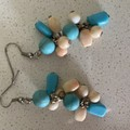 Beaded earrings turquoise and orange tone beads