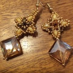 Beaded earrings. Reverse rose window earrings.