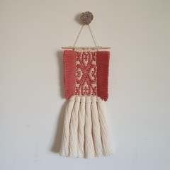 Hand woven wall hanging - four pink hearts