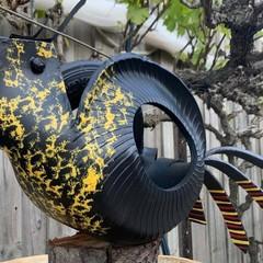 BLACK BETTY Black Cockatoo go cart TYRE hanging plant basket planter Funky Retro