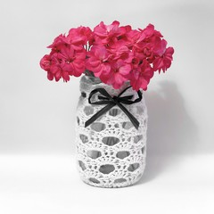 Crocheted mason jar cover available in 10 colours and custom made sizes.