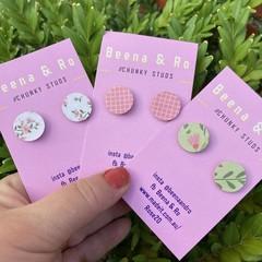 Green & pinks chunky studs