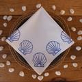 "Block printed 4PK cotton napkins | ""She sells Sea Shells"""
