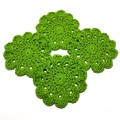 Set of 4 rich green coasters in a mercerized 100% cotton.