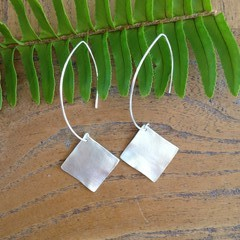 Recycled Silver Square Earrings