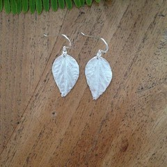 Recycled Silver Leaf Earrings