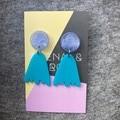 Organic mountain earrings - aqua