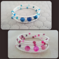 Boho rose or blue agate and white seed bead memory cuff bracelet